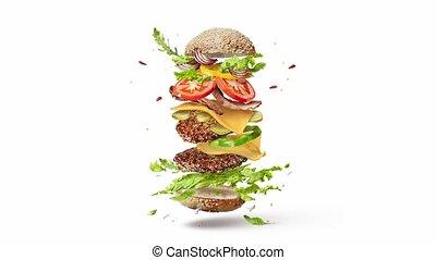 składniki, swojski, video, przelotny, hamburger.