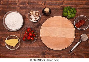 składniki, ustalać, -, dom, pizza, górny prospekt
