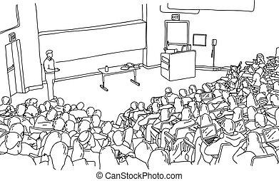 skłon, rys, pokój, studenci, doodle, kwestia, odizolowany, ilustracja, ręka, wektor, czarne tło, nauczanie, pociągnięty, biały samczyk, nauczyciel