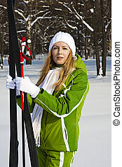 sk, esquiador, mulher, floresta, nevado