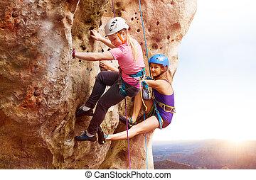 skała arywiści, osiąganie, szczyt, od, niejaki, góra