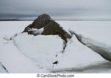 skała, lód, motyw morski, pod