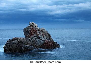 skała, morze, motyw morski