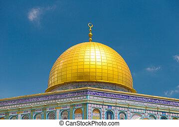 skała, obsada rozciągacza, izrael, jerozolima, kopuła, meczet
