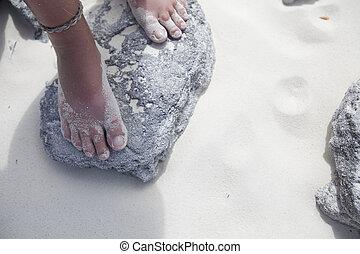 skała, plaża, feet, panieński, reputacja