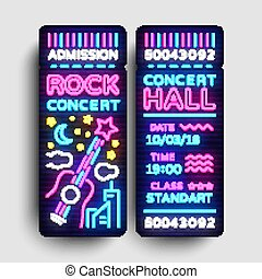 skała ułożą, bilet, projektować, szablon, w, nowoczesny, kierunek, style., koncert, bilety, wektor, ilustracja, neon, styl, lekki, chorągiew, jasny, reklama, dla, koncert, festival., życie nocne, wektor