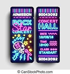 skała ułożą, bilet, projektować, szablon, w, nowoczesny, kierunek, style., skała gwiazda, koncert, bilety, wektor, ilustracja, neon, styl, lekki, chorągiew, jasny, reklama, dla, koncert, festival., życie nocne, wektor