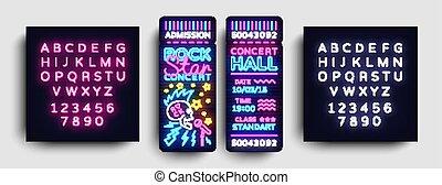 skała ułożą, bilet, projektować, szablon, w, nowoczesny, kierunek, style., skała gwiazda, koncert, bilety, wektor, ilustracja, neon, styl, lekki, chorągiew, jasny, advertising., życie nocne, vector., edycja, tekst, neon znaczą