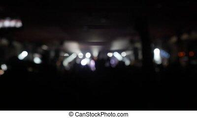 skała ułożą, tłum, telefon, klub, siła robocza, noc, audio., zamazany, falować, ich, miłośnicy, 3840x2160, wystawy, cyfrowy, utrzymywać