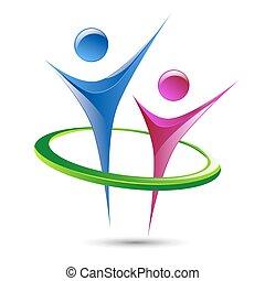 skabelon, abstrakt, logo, vektor, beregner, menneske