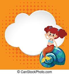 skabelon, havfrue, ramme, konstruktion, cute