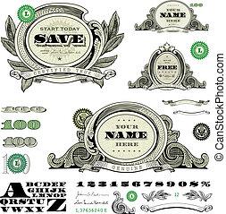 skabelon, penge, sæt, vektor, ramme