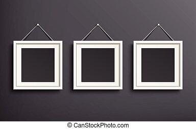 skabelon, sæt, billede, blank, ramme