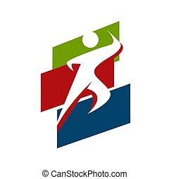skabelon, sunde, løb, sport, mand, vektor, logo, konstruktion, duelighed, illustrationer