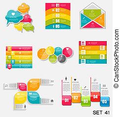 skabeloner, illustration., firma, samling, infographic, vektor