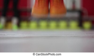 skaczący, kroki, atleta, rope.