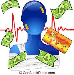 skadad människa, pengar