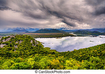 Skadar Lake in Montenegro on a cloudy day