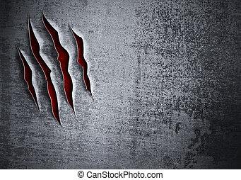 skadat, grunge, metall vägg, begrepp