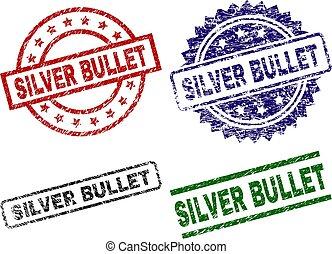 skadat, strukturerad, silver projektil, försegla, frimärken
