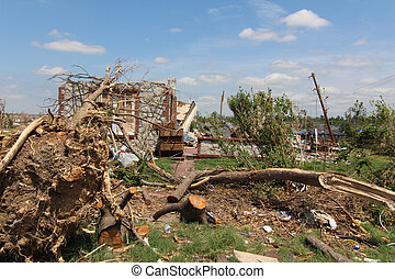 skadegörelse, träd, ef5, tromb, &, hem
