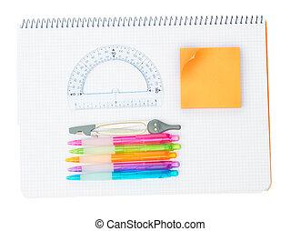 skaffar, skola, anteckningsbok