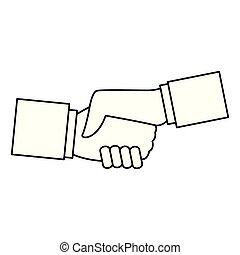 skakande, vit, ikon, svart, hand