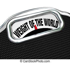 skala, belasten, gewicht, wörter, welt, unruhe