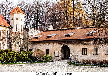 skala, jardín, edificio, krakow, pieskowa, medieval, vista, polonia, castillo