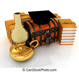 skala, kapelusz, na, skrzynia, i, książki, dookoła, z, nafta, lamp., 3d, render