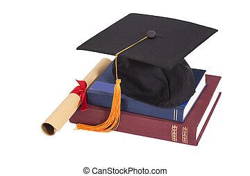 skala, kapelusz, z, dyplom, i, książki, odizolowany