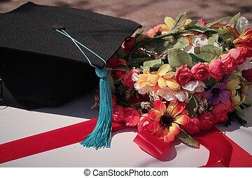 skala, kwiaty, i, kapelusze