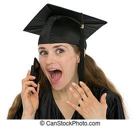 skala, telefon, student, portret, dziewczyna, podniecony, rozmawianie