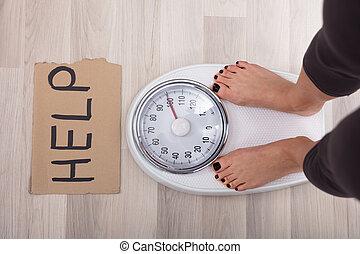 skala, wiegen, hilfe, frau, zeichen, füße
