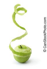 skalande, grönt äpple