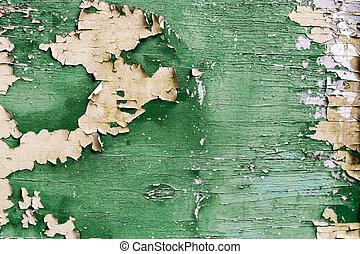 skalande, planka, gammal, grönt måla