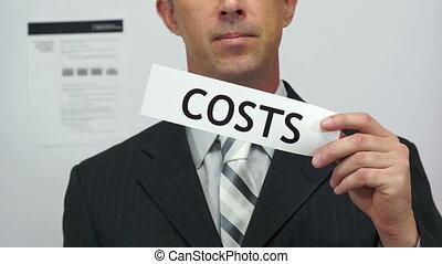 skaleczenia, biznesmen, pojęcie, wydatki