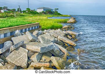 skalisty, banki, na, ocracoke, wyspa, od, północ, carolina's, zewnętrzny koral