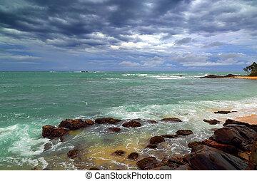 skalisty, burzowy, na, coastline, morze, krajobraz