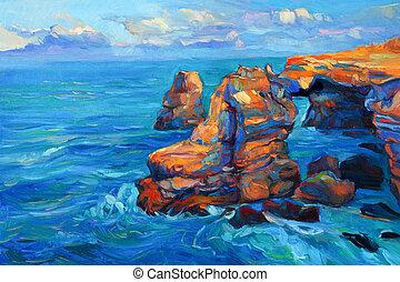 skalní stěna, oceán