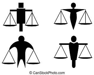 skalpy, sprawiedliwość, abstrakcyjny, dzierżawa, logo, ikona, człowiek