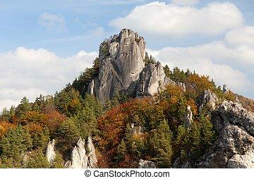 skaly, rockies, -, otoñal, sulovske, sulov, vista