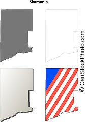Skamania County, Washington outline map set