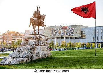 Skanderbeg square with flag, Skanderbeg monument and...