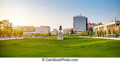 Skanderbeg square with flag, Skanderbeg monument and...