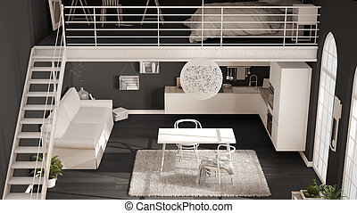 Skandinavisch, Minimalist, Dachgeschoss, One Room, Wohnung, Mit, Graue ,