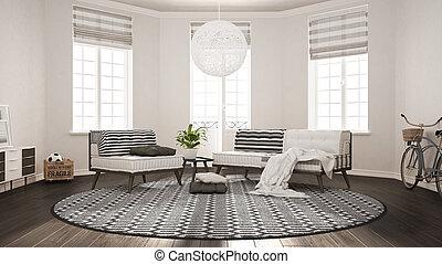 Skandinavisch Minimalist Wohnzimmer Mit Sofa Sessel Und Teppich