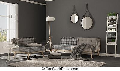 Skandinavisch, Wohnzimmer, Mit, Couch, Sessel, Und, Weich, Pelz Teppich