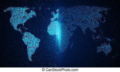 skandować, pixelated, światowa mapa, pętla, tło