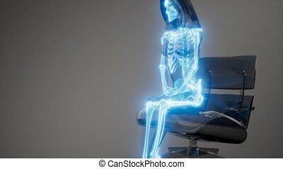 skandować, radiografia, szkielet, ludzki